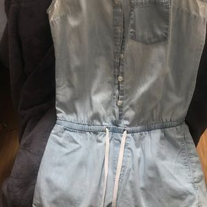 Light Blue Wash Button up with Pockets Romper